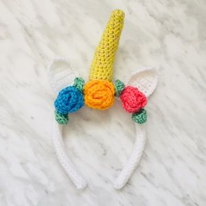Crocheted Unicorn Ear And Horn Headband in White